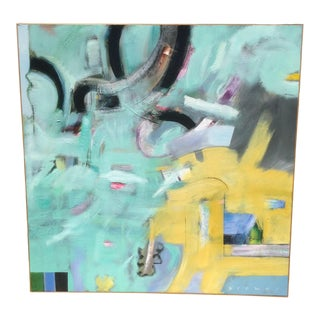 """""""Free Donuts"""" Contemporary Abstract Expressionist Painting, Framed For Sale"""