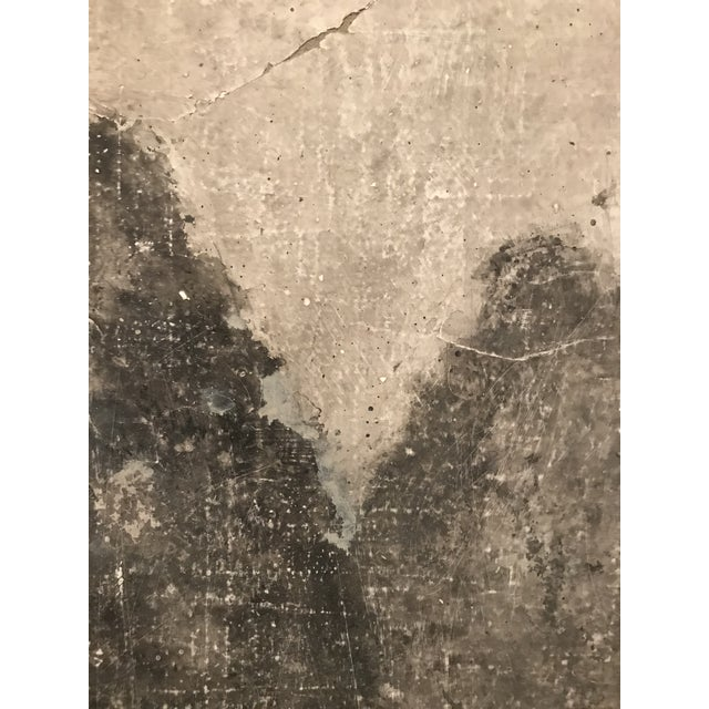 """""""Trees"""" is Venetian plaster over burlap mounted on wood in tones gray. Textures add a beautiful aged look."""