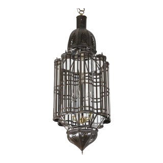 Large-Scale Moroccan Moorish Metal and Clear Glass Pendant Chandelier For Sale