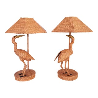 Monumental Mario Lopez Torres Raffia-Rattan Egret Table Lamps A-Pair - Tropical Boho West Palm Beach Chic Mid Century Modern MCM Cottage