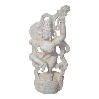 Indian Goddess Saraswati Stone Statue For Sale