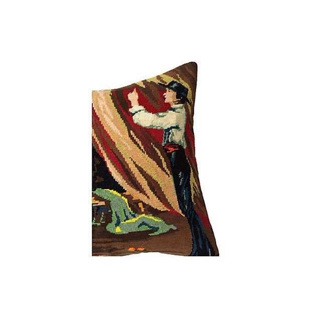 Flamenco Dancers Needlepoint Body Pillow For Sale - Image 5 of 6