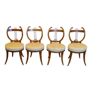 Early 19th Century Antique Lyre Back Biedermeier Chairs- Set of 4 For Sale
