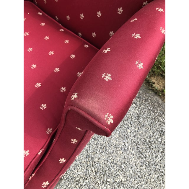 Red Burgundy Chippendale Wingback Chairs - A Pair For Sale - Image 8 of 8