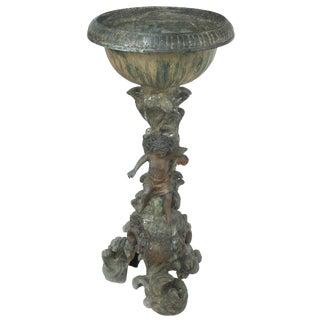 Antique Bronze Cherub Jardiniere Planter For Sale