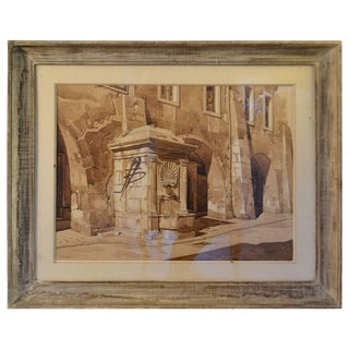 Framed Watercolor Drawing of a Fountain For Sale