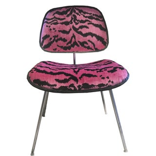 Pink Scalamandre Le Tigre Eames Chair For Sale