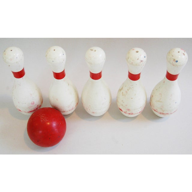 1940s Child's Wood Bowling Pins & Ball - Set of 6 - Image 4 of 10