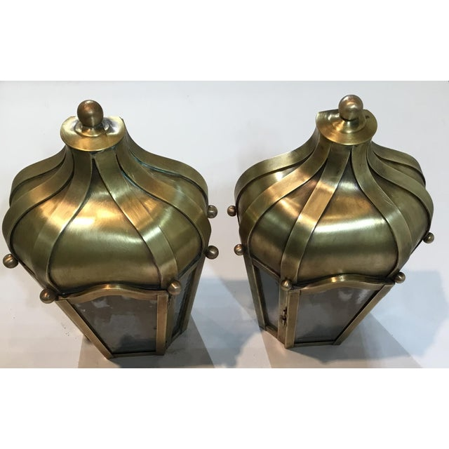 Hand Crafted Wall Mounted Brass Lanterns - A Pair For Sale - Image 9 of 11