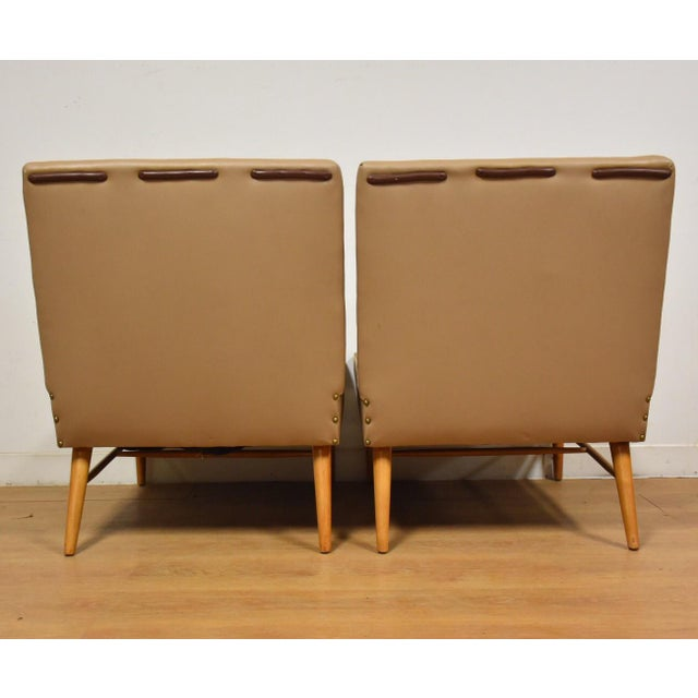 Maple Mid-Century Modern Beige Slipper Lounge Chairs - A Pair For Sale - Image 7 of 9