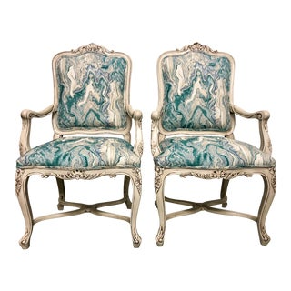 French Style Arm Chairs - a Pair For Sale