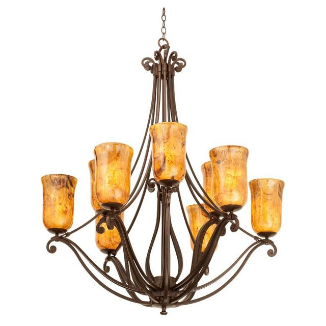 Monumental Kalco Chandelier With Murano Glass Style Torchiere Light Shades For Sale - Image 9 of 9