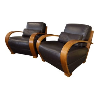 Roche Bobois Exposed Wood Leather Lounge Chairs - a Pair For Sale