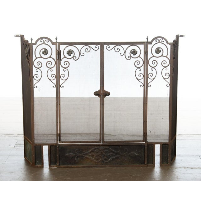 Metal Antique Ornate Spanish Cast Iron Fire Place Screen For Sale - Image 7 of 7