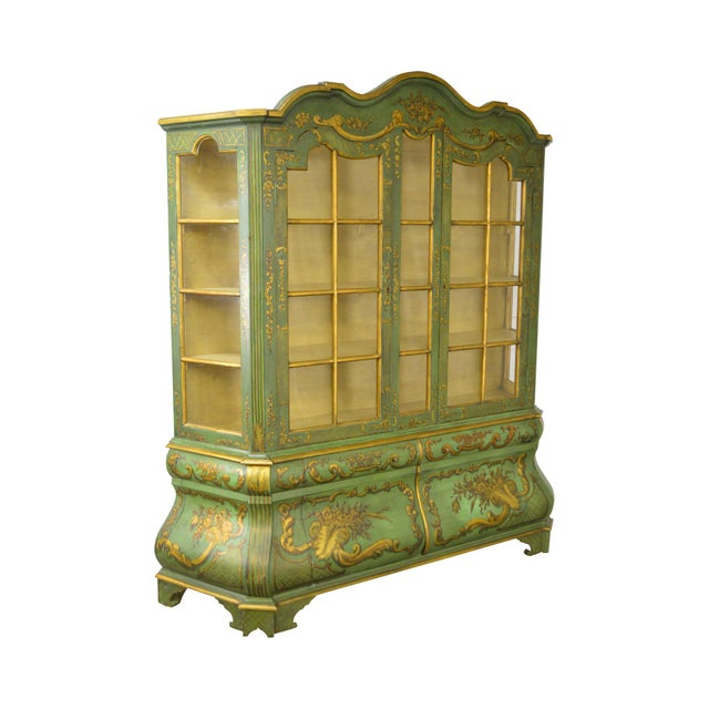 Italian Hand Painted Large Bombe Bookcase Breakfront For Sale - Image 11 of 11