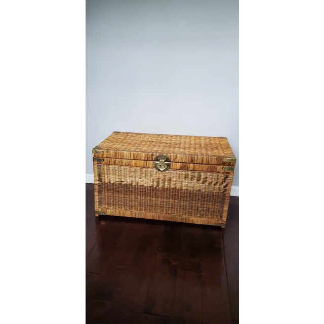 Vintage Wicker Rattan Trunk For Sale - Image 13 of 13