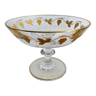 1920s Antique Val Saint Lambert Gold Embossed Compote For Sale