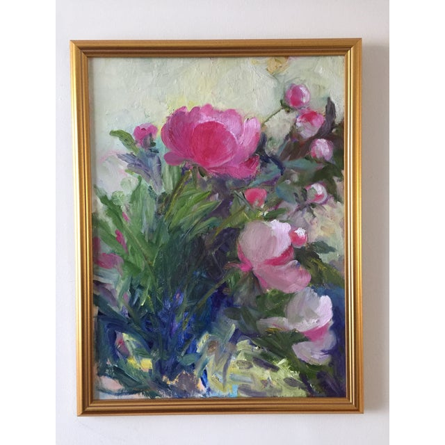 """2020s """"Peonies"""" Contemporary Plein Air Garden Scene Oil Painting by Marina Movshina, Framed For Sale - Image 5 of 5"""