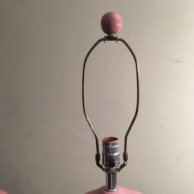 Mid-Century Modern Hollywood Regency Pink Lamps - A Pair - Image 5 of 5