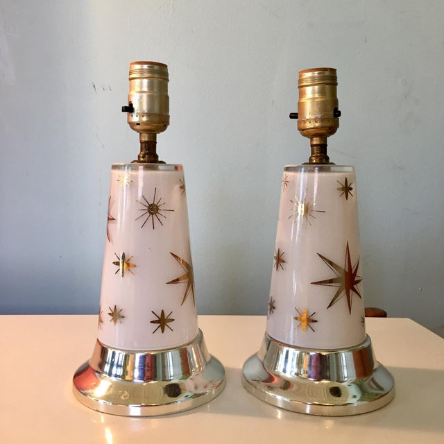 1950s Celestial Glass Lamps- a Pair For Sale - Image 10 of 10
