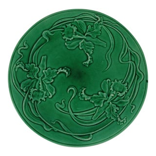19th-C. Green Majolica Orchid Plate