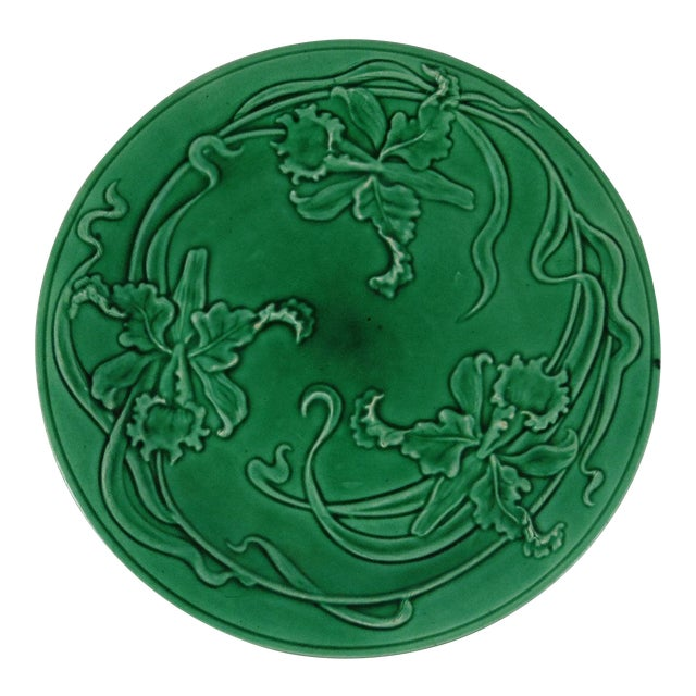 19th-C. Green Majolica Orchid Plate For Sale