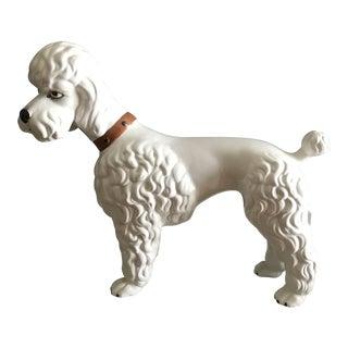 Hollywood Regency White Porcelain Poodle Figurine