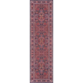 "Momeni Afshar Polyester Navy Runner 2'3"" X 7'6"" For Sale"