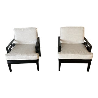 1980s Vintage Black Lacquered Chairs - a Pair For Sale