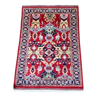 Vintage Pakistani Hand Knotted Wool Rug- 4 X 6' For Sale