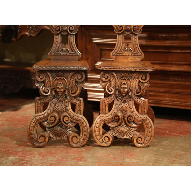 Pair of 19th Century Italian Renaissance Carved Walnut Sgabello Hall Chairs For Sale - Image 4 of 13