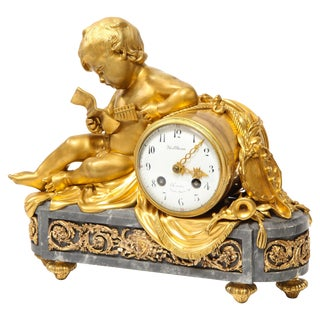 French Ormolu-Mounted Bleu Turquin Marble Figural Clock by Maison Mottheau For Sale