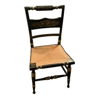 Hitchcock Black Stenciled Rush Seat Chair For Sale