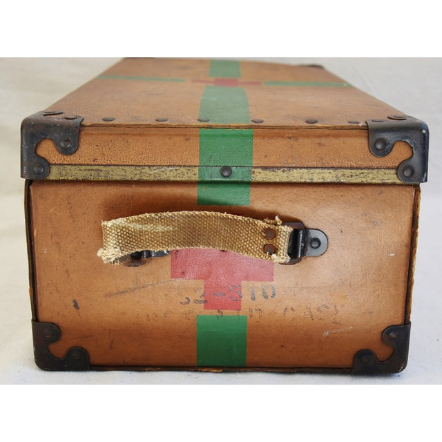 Metal Circa 1940s Military Medical Suitcase w/ Cross For Sale - Image 7 of 11