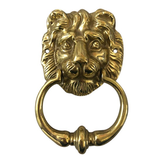 1950s English Traditional Lion Head Door Knocker For Sale