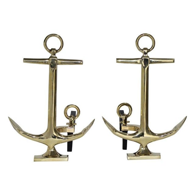 Brass Anchor Form Andirons in the Style of Puritan, the Pair For Sale - Image 13 of 13