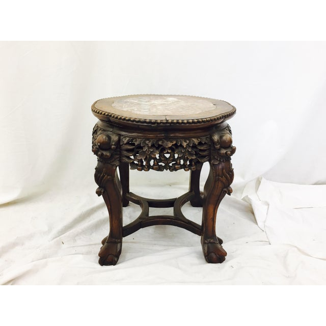 Chinese Carved Rosewood & Marble Table - Image 4 of 11