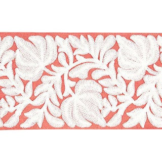 Sample, Scalamandre Coventry Embroidered Coral Tape For Sale
