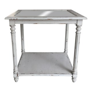 Shabby Chic White End Table with Mirror Top For Sale