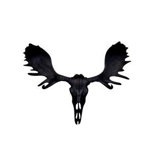 Wall Charmers Alberta Faux Black Resin Moose Head Skull