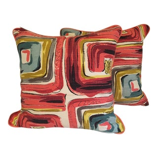Bespoke Mid-Century Modern Barkcloth With Rose Leather Cording Pillow Set - a Pair For Sale