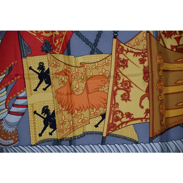 Orange Hermes Flags & Banners Silk Scarf For Sale - Image 8 of 10