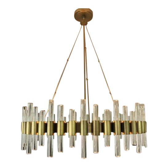 Haskell Brass & Clear Acrylic Large Chandelier For Sale