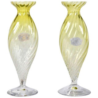 Mid-Century Chartreuse Val Saint Lambert Glass Vases - A Pair For Sale