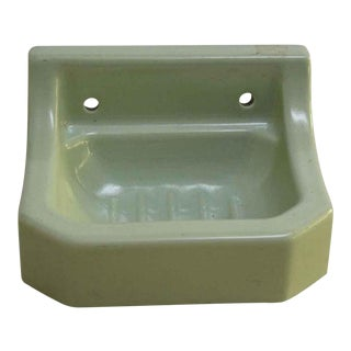 Vintage Pastel Green Porcelain Soap Dish For Sale