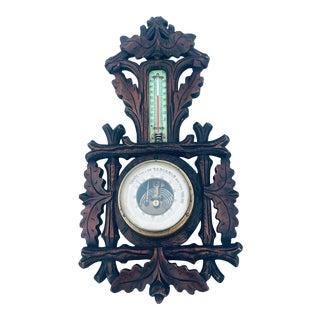 Antique French Carved Oak Black Forest Barometer For Sale