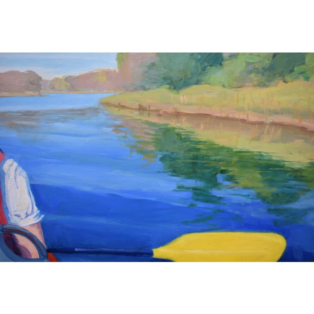 """Blue Stephen Remick """"The Journey"""" Large (32"""" X 80"""") Contemporary Painting For Sale - Image 8 of 13"""