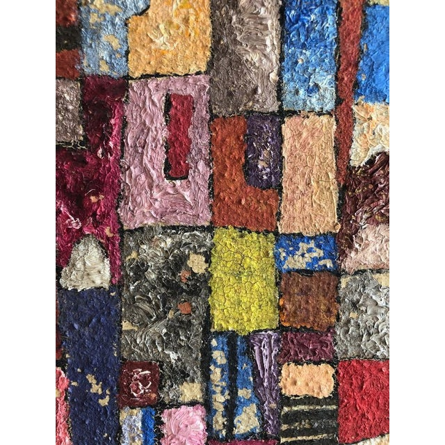 Red 1950s Vintage Modern Abstracted Cityscape Painting For Sale - Image 8 of 11