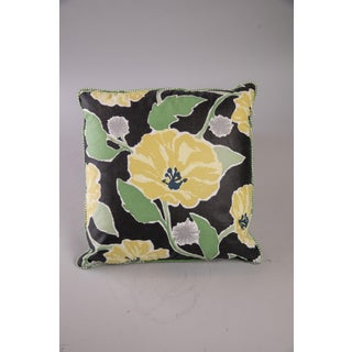Cottage Style Floral Pillow with Green Welt Preview