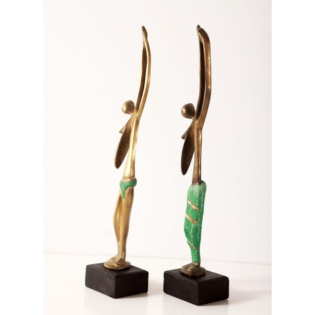 Modernist African Bronze Figural Sculptures From Angola - a Pair For Sale In Providence - Image 6 of 11